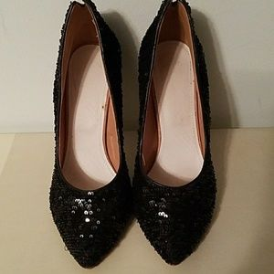 All black sequence evening shoes